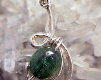 Tourmaline Sterling Silver Wire Art Pendant 008