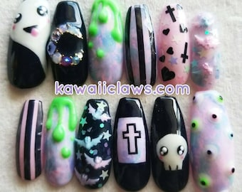 Pastel Goth Kawaii Halloween Creepy Cute Gel Nail Art Press on false fake nails