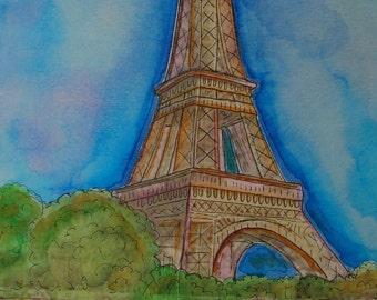 Summer in Paris - Print from original watercolor