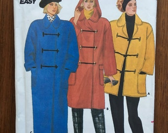 4131 Butterick Duffel winter Jacket coat with hood sewing pattern size 12-14-16 bust 34-38 vintage 1980's uncut