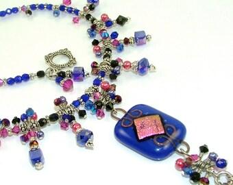 GRANDES DÉMARQUES - superbe Cobalt & Magenta «De la Reine en Cascade» perles en verre fusionné dichroïque déclaration collier-OOAK