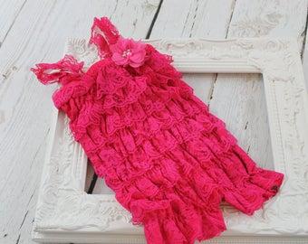 Hot Pink Lace Romper SALE !!! Hot Pink Petti Lace Ruffle Romper Hot Pink Ruffle Romper