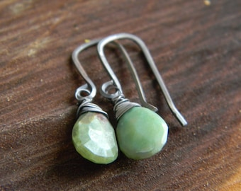 simple and rustic peruvian opal earrings - oxidized sterling silver