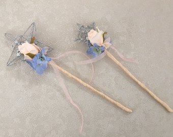Beautiful wedding Flower Girl Wand  - Bridesmaid Wand peach rose and pastel blue