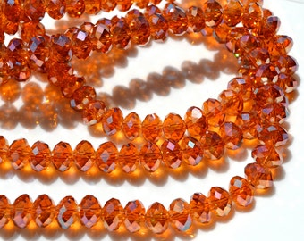 Autumn Sun 8x5mm Faceted Crystal Rondelle Beads    20