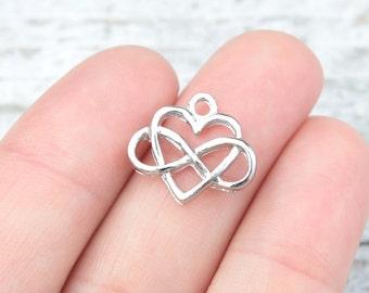 10 PIECES Infinity Heart pendant, Infinity heart charm, heart pendant, heart charm, heart infinity pendant, infinity symbol B0084903