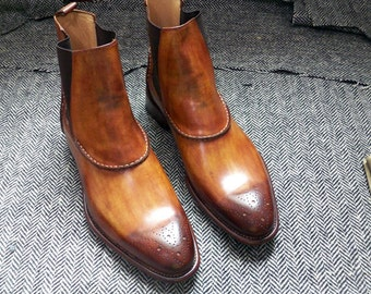 Custom Made Chelsea Boot Hand Painted Leather Upper And Sole