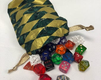 Green & Gold Diamond Patterned Dice Bag