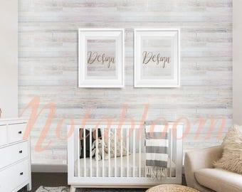 Gender Neutral Baby Nursery 2-Up Portrait White Frame Mock-Up / Stock Photo / Art Stock Image / Styled Stock / Shop Display