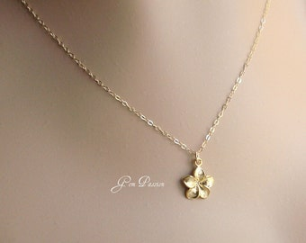 Gold Plumeria Necklace, Gold Plumeria Charm, 14k Gold Filled Necklace, Hawaii Jewelry, Summer Fashion, or Sterling Silver Plumeria Necklace