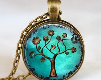 Copper Tree necklace ,Tree of life turquoise blue jewelry , copper tree of life pendant , handmade jewelry, photo pendant