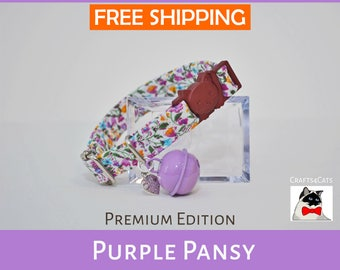 'Purple Pansy' Floral Vintage Style Breakaway Cat Collar