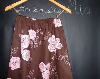 Sample SALE - Will fit Size S/M - Ready to MAIL - A-line SKIRT - Chocolate Brown and Pink Roses - by Boutique Mia