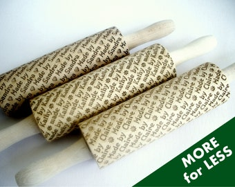 3 Personalized Rolling Pins SET.  Lazer engraved personalised embossing rolling pins for homemade cookies. Houswares, kitchen