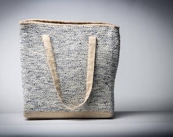 Linen shoulder bag with handwoven pattern