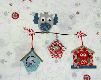 OWLS fabric cotton patchwork OBO owls and Red x50cm homes