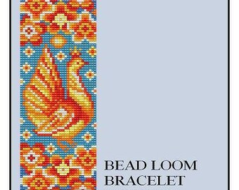 Bead Loom Folk Bird 1 Folk Art Bird Wide Cuff Bracelet Pattern PDF