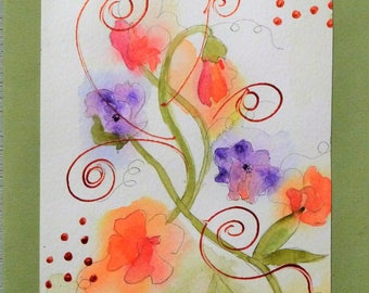 Original Art, Watercolor Flowers, card greeting card, botanical watercolor, original art, watercolor flowers, handmade