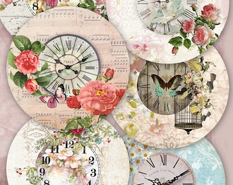 75% OFF SALE Digital collage sheet Clock in flowers - printable digital coolage tags digital vintage digital image atc card flowers cards