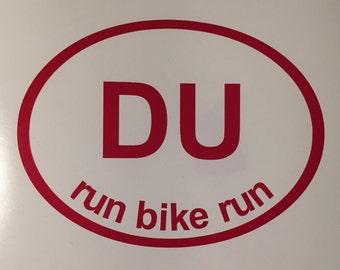 DU Run Bike Run Oval Decal