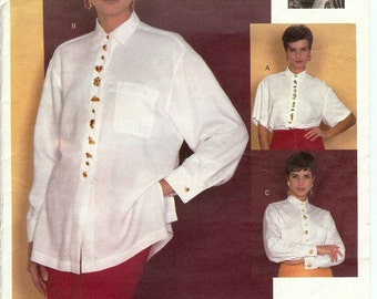 Vogue UNCUT Attitudes Pattern 2873 - Todd Oldham - Misses Very Loose-Fitting Blouses - 8-12