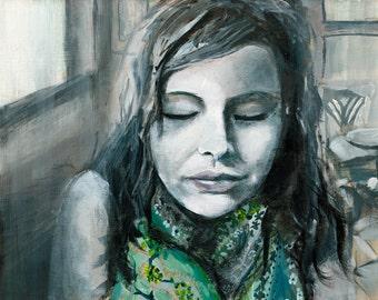 Self Portrait Art Print, Giclee Art print, Modern Art home decor, wall art, 5 x 7