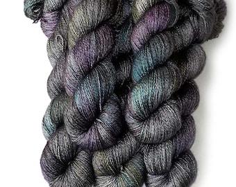 Hand Dyed Yarn Cashmere Silk Lace Yarn, 433 yards, Graphic Novel