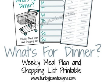 What's for Dinner? Weekly Meal Plan and Shopping List Printable Insert for FauxDori, Dori, Traveler's Notebooks