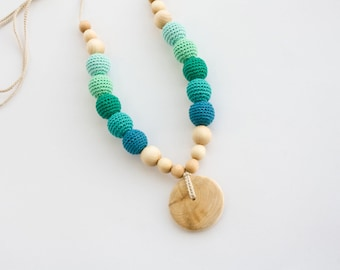 Nursing Necklace with Pendant - Emerald Green Gradient, Juniper - New Mom Necklace, New Baby Gift - NG10