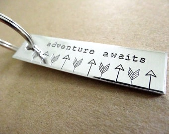 Adventure Awaits Keychain - Personalized Keychain - Hand stamped Accessory