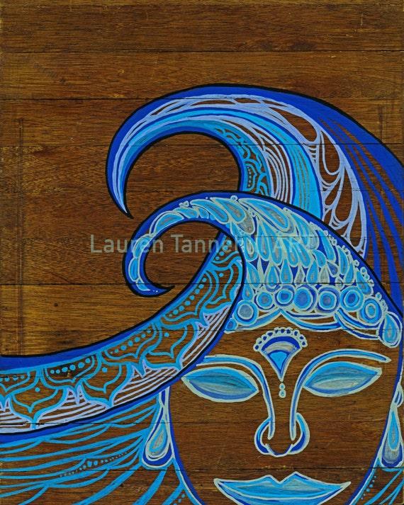 8x10 Giclee Print of Zen Waves Surf Art Print with Buddha Siddhartha by Lauren Tannehill ART