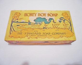 Antique 1860 Litho Cardboard HONEY BOY SOAP Box - Standard Soap Company - W. Berkeley Ca.