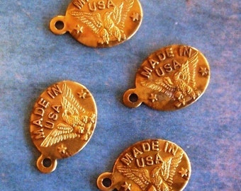 6 PC Raw Brass Made In USA Tag / Charm - A0021