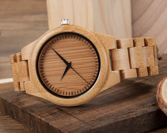 Engraved Wooden Watch Jett Series - Personalized Wood Watch for Men & Women, Groomsmen, Anniversary, Graduation, Birthday, Father's Day Gift