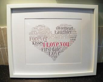 Personalised Love Word Art Print -A4