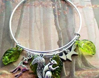 Adjustable Bangle, Adjustable Bracelet, Nature Bangle, Nature Bracelet, Charm Bracelet, Bird Bracelet, Nest Bracelet, Gift for Her