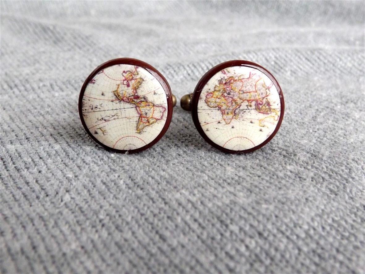Whole Wide World Map Cufflinks Vintage World Map Cufflinks Wedding cuff links for groom Men Cufflinks Gift For Him
