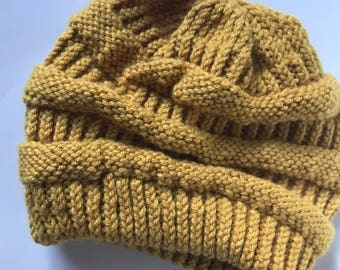 CC inspired Slouchy Beanie in Mustard / Woman's Beanie / Gift for Her