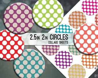 Geometric Digital Collage Sheet Bright Grunge Polka Dots Polkadot 2.5in and 2 Inch Circle Download Printable Images for Gift Tags Cards