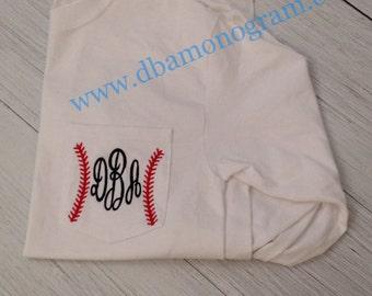 Ladies Monogram Baseball Pocket Tee Shirt - Monogrammed Pocket Tee