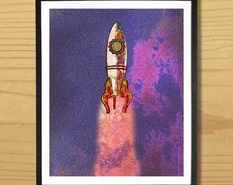 Rocket Print, Space Print, Rocket Wall Art, Science Fiction Print, Rocket Ship Wall Art, Space Art, Astronaut Print, Digital Download