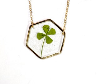 Real four leaf clover necklace 4 leaf clover, Shamrock necklace Lucky Shamrock, good luck necklace botanical jewelry clover hexagon