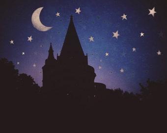 Fairy Tale Art - Travel Photography - Moon and Stars Art - Budapest Castle - Blue Pink Sunset - Night Sky Art - Europe Travel Photo