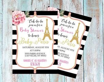 Paris Theme Baby Shower Invitation / Baby Shower Invitation / Printable Digital File