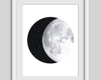 Moon Print, Moon Art, Night Sky, Moon and Stars, Circle Print, Geometric Print, Geometric Art, Circle Art, Instant Download