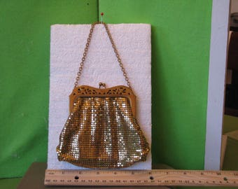 Vintage Accessory, Gold Gilt Mesh Evening Bag, Madeby Whiting and Davis Co, 1950's