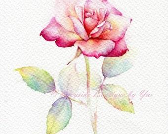 """PRINT – Rose Watercolor painting 7.5 x 11"""""""