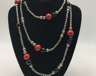 VINTAGE Sterling Silver wrap around LONG beaded necklace