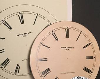 Vintage NOS Peter Gerard Thick Paper Clock Face for Décor, Projects or Restoration