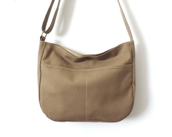 Canvas Hobo Bag Crossbody Bag Slouch Bag Purse Tan